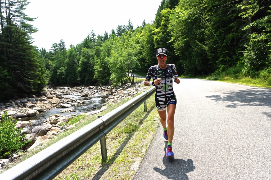 Heather Jackson on a training run at the IRONMAN Lake Placid course.