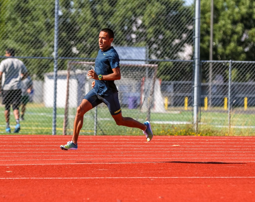 Leo training in the new Speed Evo R track spikes in Eugene.