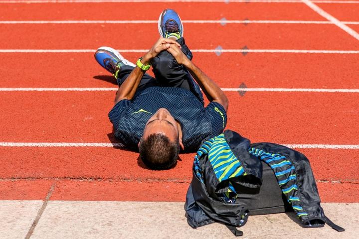 Leo stretches on the track in Eugene.